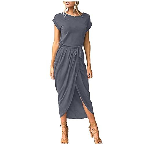 Liably Vestido de verano para mujer, de un solo color, de manga corta, cuello redondo, irregular, elegante, sencillo, ropa callejera, vino, verde, azul, negro, gris, lila, rojo, blanco. gris oscuro S