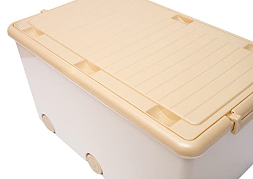LAPSI® Spielzeugkiste, Aufbewahrungsbox mit 6 Rollen mit Deckel auf Rädern Beige Teddybär - 5