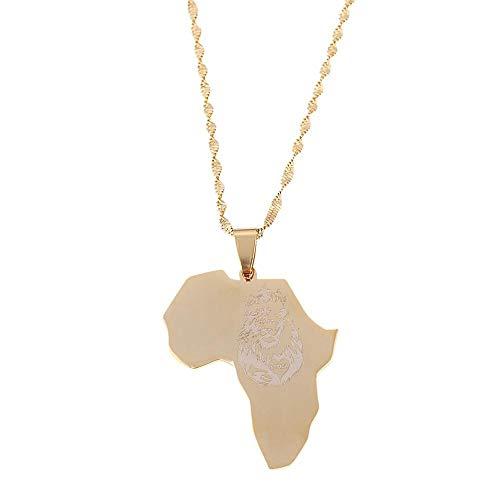 Nobrand Edelstahl Afrika Löwe Herz Karte Halskette Gold Farbe Afrikanische Karte Geschenk für Männer Frauen Kette Schmuck