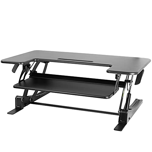 VIVO Black Height Adjustable 36 inch Stand up Desk Converter Quick Sit to Stand Tabletop Dual...