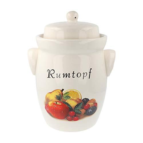 PureNature Rumtopf aus Keramik 5 Liter Creme mit Früchtedekor