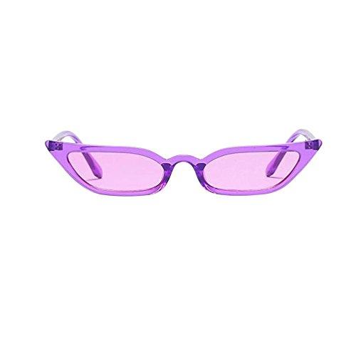 Makefortune Frauen Sonnenbrillen, Frauen-Weinlese-Katzenaugen-Sonnenbrille-Retro- kleiner Rahmen UV400 Eyewear arbeiten Damen-Gläser um (Lila)