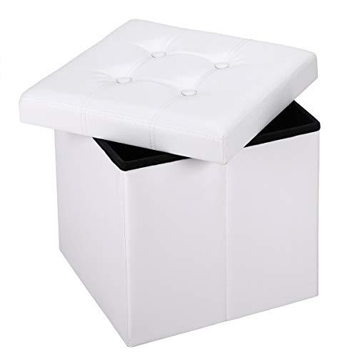 Deuba Sitzhocker mit Stauraum & Deckel Faltbar 40 L Weiß Kunstleder 38x38x38cm Gepolstert Sitztruhe Truhe Fußhocker