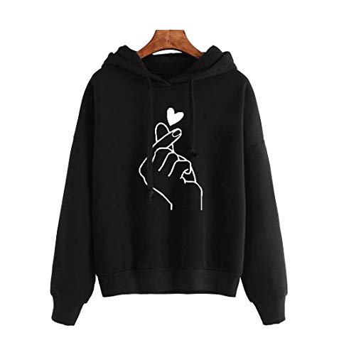 JLTPH Damen Kapuzenpullover Finger Herz Drucken Beiläufig Langarm Hoodie Sweatshirt Streetwear Jumper Hemd Kapuzenpulli Bluse Tops