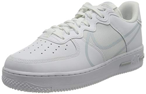 Nike Air Force 1 React, Chaussure de Basketball Homme, White Pure Platinum, 39 EU