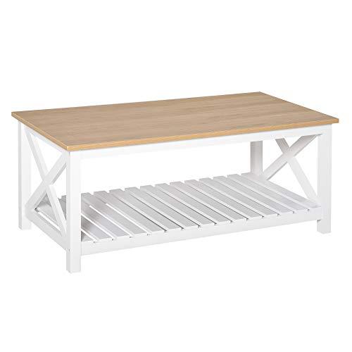 HOMCOM Table Basse rectangulaire dim. 116L x 60l x 48H cm étagère à Lattes Plateau Imitation chêne Clair MDF Blanc