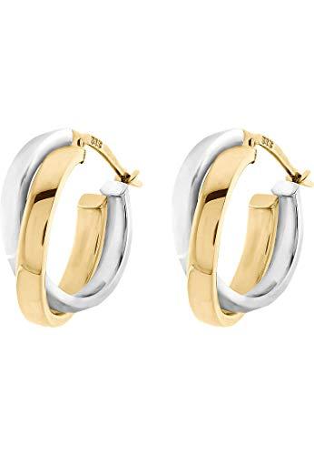 CHRIST Gold Damen-Creolen 585er Gelbgold, 585er Weißgold One Size 84152234