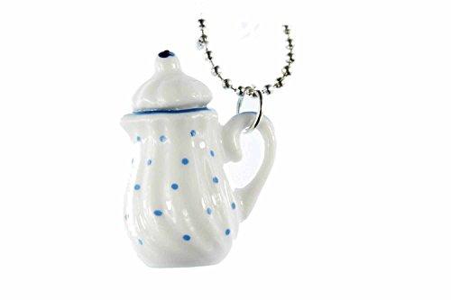 Miniblings Kaffeekanne Teekanne Porzellan Halskette - Handmade Modeschmuck I Kette mit Anhänger Länge: 80cm - Tee KannePünktchen blau