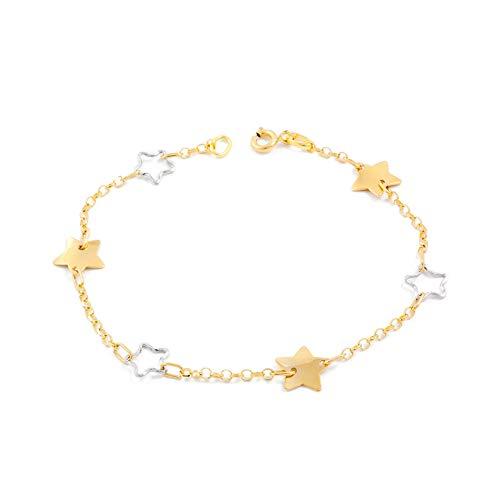 Sterren armband tweekleurig goud 18 karats (750)