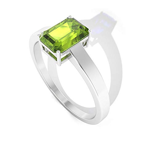 Rosec Jewels 14 quilates oro rosa Octagone Green Peridoto creado en laboratorio