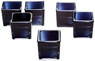 Light In The Dark Black Glass Square Votive Candle Holders Set of 12