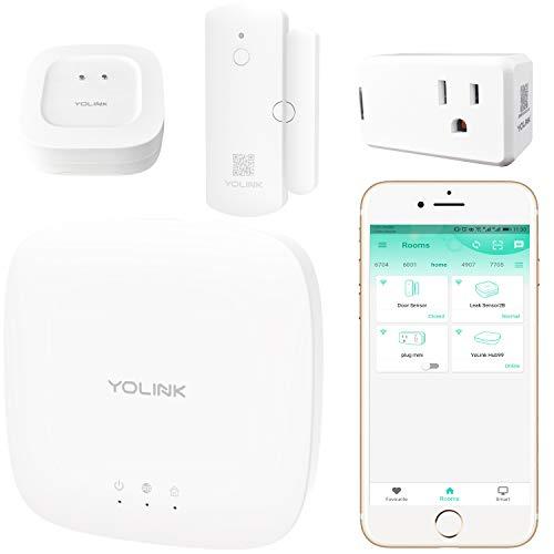 Smart Home Starter Kit, YoLink 1/4 Mile World's Longest Range Wireless Door Sensor, Water Leak Sensor, and Smart Plug Compatible with Amazon Alexa IFTTT, Smart Home Security Kit, YoLink Hub Included