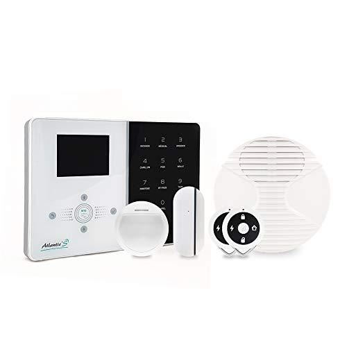 Atlantic'S - Allarme domestica senza fili IPEOS KIT 1, allarme Wi-Fi, impostazione a distanza