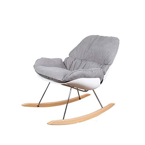 LYJ Europäische Studie Stuhl Nordic Sofa Stuhl Balkon Stuhl Outdoor Freizeit Mode Schaukelstuhl (Farbe : Weiß)