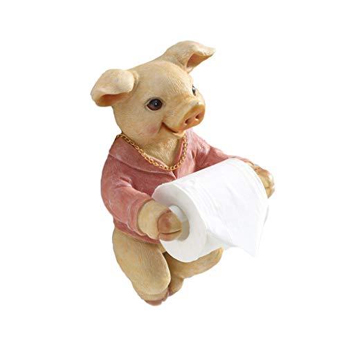 LINA Porte-Serviettes de Toilette de Salle de Bains Creative Mignon Pig Support Mural sans Porte-Rouleau de Papier de Forage avec étagère de Rangement pour téléphone Portable (Couleur : Pink)