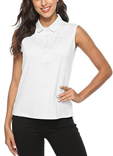 MoFiz Polo Senza Maniche Donna Poloshirt Golf Estiva Camicia Traspirante Top con Bottoni Bianco M