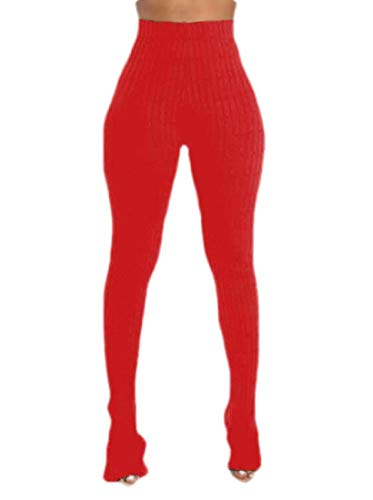 GRMO Women Classic High Waist Stretch Side Slit Pure Color Trousers Red L