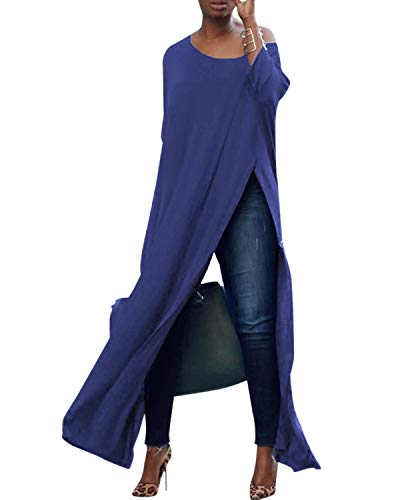 kenoce Blusa de Mujer Irregular Maxi Blusa Sueltas Largas Cuello Redondo y Manga Larga 3/4 Elegante Fiesta Cóctel Noche H-Azul M