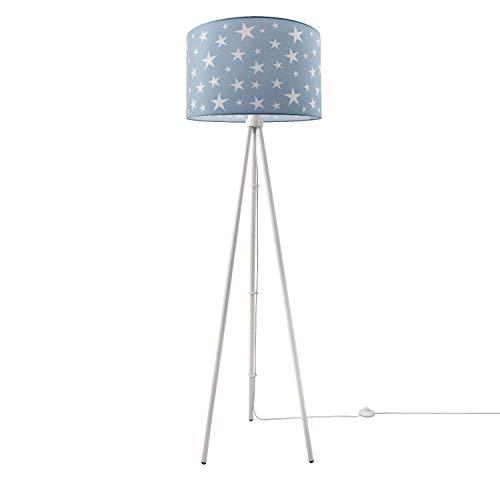 Kinderlampe Stehlampe LED Kinderzimmer, Sternen-Motiv, Deko Stehleuchte E27, Lampenfuß:Dreibeinig Weiß, Lampenschirm:Turquoise (Ø45.5 cm)