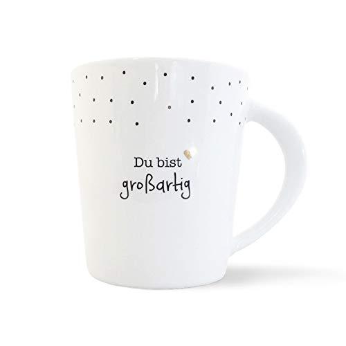 mintkind Porzellan Becher I Kaffeetasse I Kaffeebecher Du bist großartig Echtgold/schwarz/weiß