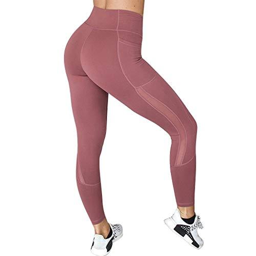 Setsail Damen Fashion Legere net Yarn Stitching Pockets Enge Fitness Hosen Hosen und Sporthosen Yogahose Sport-Leggings Jogginghose Hüfthose Workout Stretch High Elastic Hosen