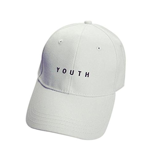 Baomabao Cotton Baseball Cap Boys Girls Snapback Hip Hop Flat Hat (White)