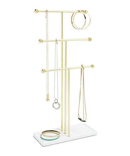 Trigem Hanging Jewelry Organizer Tiered Tabletop Countertop Free Standing Necklace Holder Display, 3, Brass/White