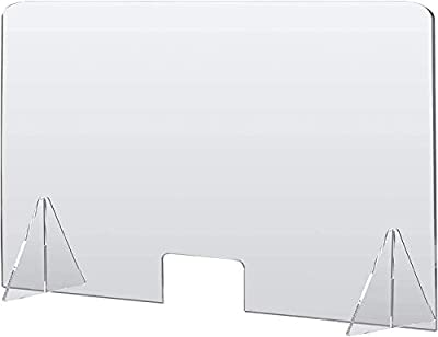 🥇 Mampara de protección transparente ULTRARESISTENTE 🥇 Fabricada en metacrilato de 4mm de espesor lo que le da una maxima estabilidad al tener 4Kg de peso y unos soportes con altura extra 🥇 Medida ventana central: 30 cm x 15 cm. 🥇 Barrera de protecci...
