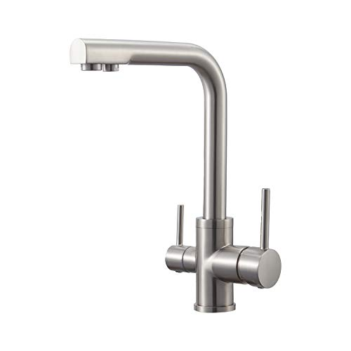 3 Way Water Filter Taps Swivel Spout Pure Drinking Water Kitchen Sink Mixer Tap Brushed