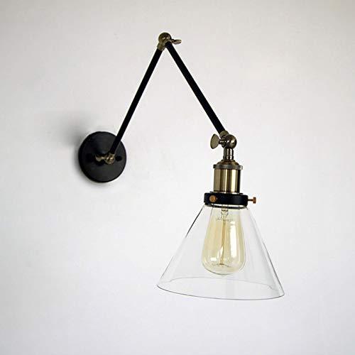 Lámpara de Pared Brazo Giratorio Vintage Industrial Diseño Luz de Pared e27 Lámpara de Noche Lámpara de Metal Vaso Pantalla Lampara de Lectura Lámpara de Oficina Cuarto Sala Encendiendo,Negro