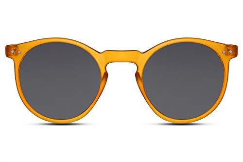 Cheapass Gafas de Sol Redondas Montura Naranja Mate con Cristales Oscuros Protección UV400 Vintage Hombre Mujer