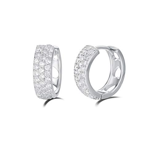 Carleen 14K White Gold Plated Sterling Silver Pave Set Stunning Cubic Zirconia CZ Simulated Diamond Small/Tiny/Mini/Little Thick Huggie Cartilage Hoop Earrings for Women Girls, Diameter 15mm Width 5mm
