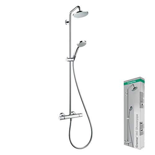 hansgrohe Duschsystem Croma 160 (Regendusche mit 4 Strahlarten, Duschkopf, Duschstange und Thermostat) chrom