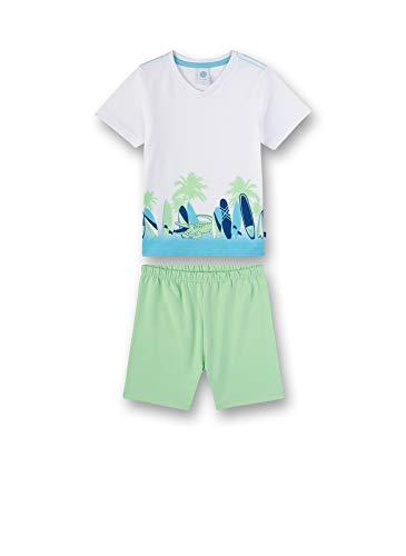 Sanetta Jungen kurzer Pyjama Zweiteiliger Schlafanzug, Weiß (White 10), (Herstellergröße: 128)