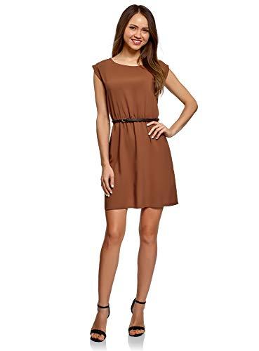 oodji Ultra Damen Viskose-Kleid mit Gürtel, Braun, DE 40 / EU 42 / L
