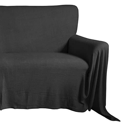 Qool24 Sofaüberwurf Frottee Couchüberwurf Sesselschoner Sesselüberwurf Tagesdecke Schwarz 150 x 250 cm