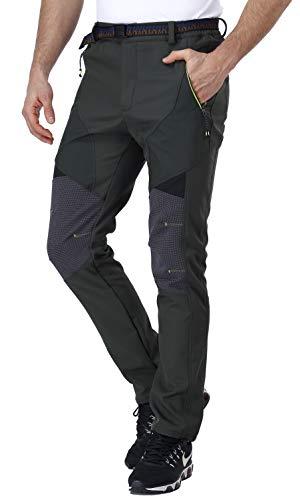 CARETOO Pantalones de trekking para hombre, con cremallera, de softshell, para exteriores, impermeables, transpirables, para pesca, desmontables, para verano, Hombre, Verde militar., small