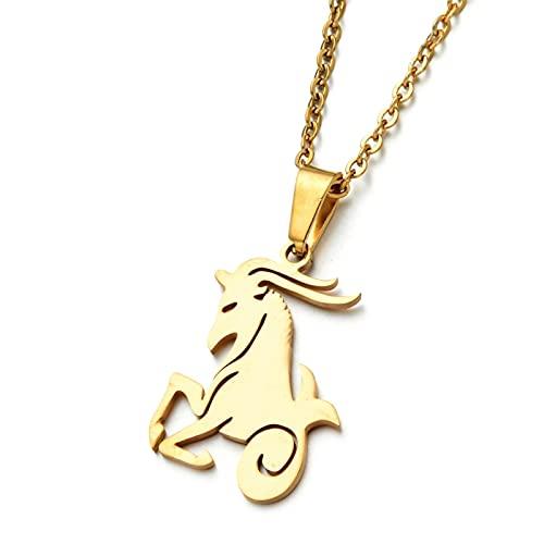 SONGK Mujeres 12 horóscopo Signo del Zodiaco Oro Plata Color Colgante Collar Aries Leo 12 Constelaciones joyería