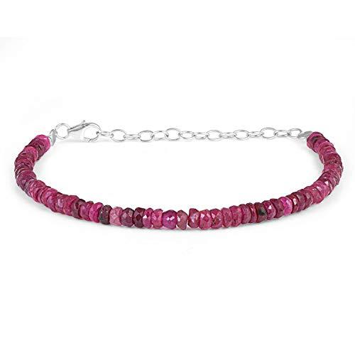 Pulsera de rubí de 3 a 5 mm de plata con piedra natal de julio de la joyería de rubí facetado Rondelle de 22 cm de cuentas de rubí
