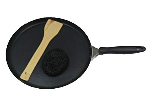 Dosa Pan,Nonstick Dosa Tawa/Griddle, Roti-Chapati Tawa,2.6 MM Thickness, Black with 1-Piece Scrubber & 1-Piece Wooden Spatula,Valentine Day Gifts