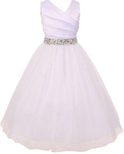 Big Girls' White Rhinestone Belt Communion Flowers Girls Dresses Silver 12 (M2B7K6RH)