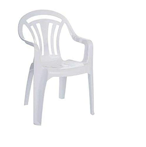 Sizi Ltd Low Back Garden Armchair Indoor Outdoor Lawn Camping Stackable Seats Picnic Patio Lightweight Chair Backrest Stacking Plastic (1, White)