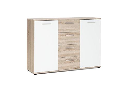 AVANTI TRENDSTORE - Jack - Sideboard con ante e cassetti in colore rovere artigianale e bianco. Disponibile in diverse misure. (Quercia Sonoma, 120 x 85 x 35)