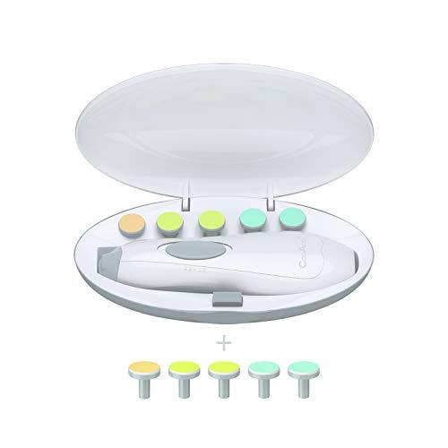 CooAoo Baby Elektrische Nagelfeile,Maniküre Set Elektrisch Nagelpflegeset Baby Nagelklipser Batteriebetrieben Nagelschere Elektrischer Nageltrimmer für Babys,Kleinkind mit LED Licht & Schleifkopf