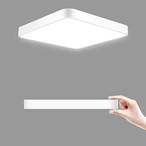 Plafón led techo, 24W 40x40CM Blanco frio Plafón led - 6000k LED Lámpara de Techo Moderna, LED luz de techo Cuadrado, Ultra Delgado Downlight para Sala de estar Comedor Balcón