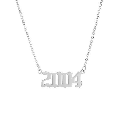 AFSTALR Collar Cumpleaños Mujer Plata Año Número Colgante Hija Pareja Aniversario Regalo Original de Joyería Personalizado