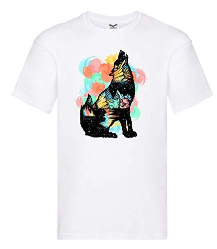 Camiseta de Manga Corta, diseño de Tatuaje de Lobo con Texto en alemán Blanco 164 cm