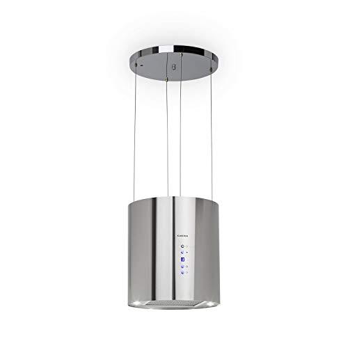 Klarstein Barett - Campana extractora aislada, Ø 35cm, Potencia de 190 W, Ventilación máxima de 590 m³/h, 3 niveles de potencia, CEE B, Iluminación LED, Acero inoxidable cepillado, Plateado