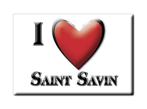 Enjoymagnets Saint Savin (86) Souvenir IMANES DE Nevera Francia Languedoc Roussillon IMAN Fridge Magnet Corazon I Love