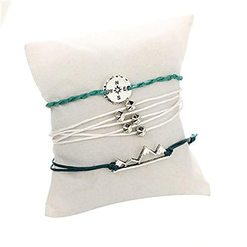 NIUBKLAS Tobillera Pulsera 4 Piezas de Pulsera de Encanto de montaña de Perlas de Dedo Bohemio, Conjunto de Pulsera de Cuerda de Cadena Ajustable Hecha a Mano para Mujer, Plata